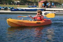 Boy kayaking Stock Photos