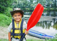 Boy kayaking Stock Image