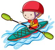 A Boy Kayaking on the river. Illustration Royalty Free Stock Photography