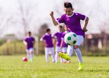 Boy kicking football on the sports field Royalty Free Stock Image