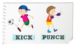 Boy kicking and punching Stock Photography