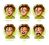 Boy. Kid avatar Character expressions set. Boy in different emotions. In pop art style. Vector illustration Royalty Free Stock Photography