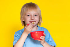Boy kid child eating corn flakes cereal. Blond boy kid child eating corn flakes cereal royalty free stock photo