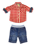 Boy kid clothes isolated on white. Stock Photo