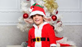 Boy kid dressed as cute elf magical creature white artificial ears and red hat near christmas tree. Christmas elf. Costume for child. Christmas party with elf royalty free stock image