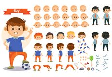 Boy kid playing football and toys vector cartoon child character constructor body parts icons
