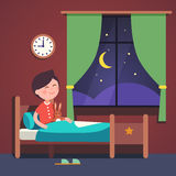 Boy kid preparing to sleep bedtime in his bed. Room bed. Good night time. Modern flat style vector illustration cartoon clipart Royalty Free Stock Image