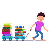 Boy kid pulling wagon cart with pile of book. School boy kid pulling wagon cart with pile of books. Little pupil hungry for knowledge. Colorful flat style Royalty Free Stock Photography
