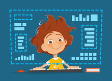 Boy kid sitting in front of computer monitor Online education Stock Photo