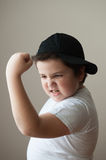 Boy, kid, strength, training, muscle, sport, thick, powerful, exercise, fat Stock Image