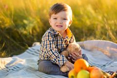 Boy kid with Teddy bear and fruit on a picnic in sunny day Royalty Free Stock Photography