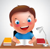 Boy kid vector character happy studying and doing school homework. In the desk holding pencil and books. Vector illustration Royalty Free Stock Image