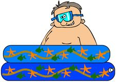 Boy in a kiddie pool. This illustration depicts a boy wearing swim goggles sitting in a small plastic pool Stock Photography
