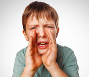 Boy kids teenager calling cries shouts opened his Royalty Free Stock Photo