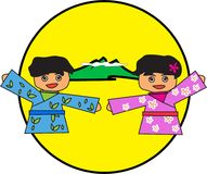 A boy kimono in blue and girl in pink , The background is a yellow circle and the mountains. Royalty Free Stock Photo