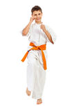 Boy in kimono fighting with smile Royalty Free Stock Images