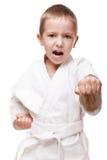 Boy in kimono training karate Stock Images