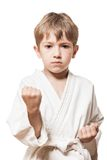 Boy in kimono training karate Stock Image