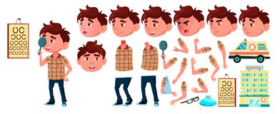 Boy Kindergarten Kid Vector. Animation Set. Emotions, Gestures. Hospital, Doctor, Disease, Sight, Fracture, Virus, Cough. Boy Kindergarten Kid Vector. Animation vector illustration