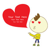 Boy kiss give red heart vector cartoon Royalty Free Stock Photos