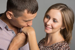 Boy kissing his beloved girlfriend hand Stock Photo