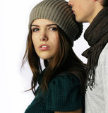 Boy kissing teen age girl on the head Stock Image