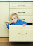 Boy in the kitchen cabinet Royalty Free Stock Photos