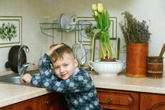 The boy in the kitchen .Portrait indoors Stock Photo