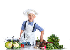 Boy kitchener in chef's hat Stock Photos