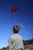 Boy with the kite. On the beach Stock Images