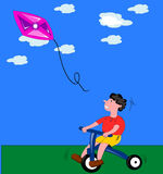 Boy with kite. The image ofa child playing with the kite could be used in kindergartens, or in a context that deals with the psychology and behavior of children Vector Illustration