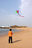 Boy with a kite. On the beach royalty free stock photography