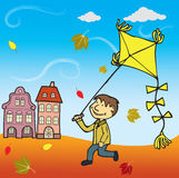 Boy with the Kite. Scenery Stock Images