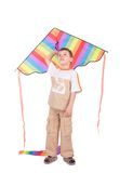 Boy with kite. On white Stock Images