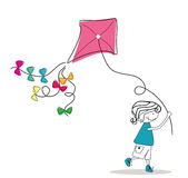 Boy with kite. Vector illustration of boy running wit kite Stock Images