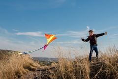 A boy with a kite against the blue sky. Bright sunny day. European appearance boy. Yellow grass stock photography
