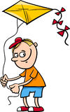 Boy with kite cartoon illustration Royalty Free Stock Photo