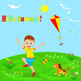 Boy with a kite and a dog running through a meadow Stock Photos