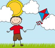 Boy with kite drawing Stock Image