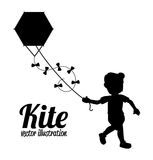 Boy with kite drawing Stock Images