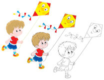 Boy with a kite. Little boy flying a funny kite, three versions of the illustration Royalty Free Stock Photos
