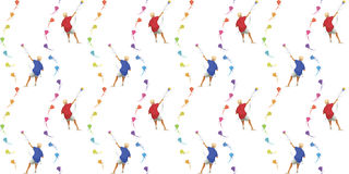 Boy with kite seamless pattern Royalty Free Stock Photo