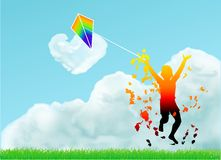 Boy with a kite Stock Images