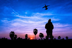 Boy and kite on twilight Stock Image