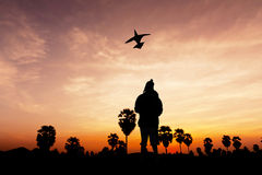 Boy and kite on twilight Stock Photography