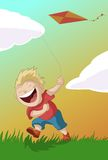 Boy with the kite. Vector image of the boy with the kite Royalty Free Stock Image