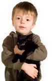 Boy and kitten. Royalty Free Stock Photos