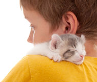 Boy and kitten Stock Image