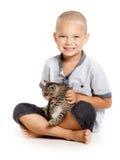 Boy with kitten Royalty Free Stock Photos