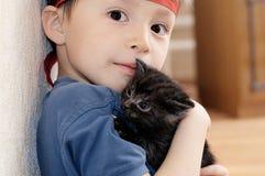 Boy with kitten Royalty Free Stock Photo